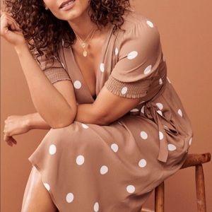 Anthropology Maeve wrap dress, size14, tan/white